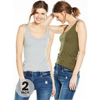 V by Very 2 Pack Longline Vest, Khaki/Grey Marl, Size 18, Women