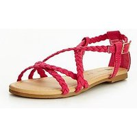 V by Very Alexa Older Girls Strap Sandal, Bright Pink, Size 13 Younger