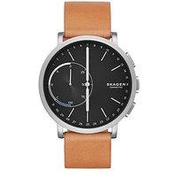 Skagen Skagen Hagen Connected Black Dial Leather Strap Smart Watch