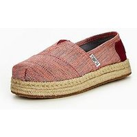 Toms Platfrom Alpargata Canvas Shoe, Pomegranate, Size 11 Younger