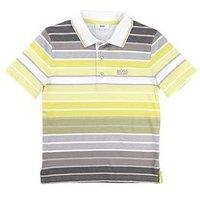 Boys, BOSS Ss Stripe Polo, Yellow/Grey, Size 16 Years