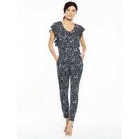 V by Very Frill Sleeve Jumpsuit , Floral Print, Size 24, Women