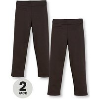 V by Very Girls 2 Pack Jersey School Trousers, Black, Size Age: 8-9 Years, Women