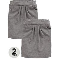 V by Very Schoolwear Girls Jersey School Tulip Skirts - Grey (2 Pack), Grey, Size Age: 10-11 Years, Women