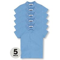 V by Very Schoolwear Girls School Polo Shirts - Blue (5 Pack), Blue, Size Age: 15-16 Years, Women