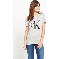 Calvin Klein Logo T-shirt - Light Grey Heather, Light Grey Heather, Size L, Women