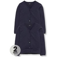 V by Very Schoolwear Girls School Cardigans - Navy (2 Pack), Navy, Size Age: 3-4 Years, Women