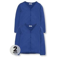 V by Very Girls 2 Pack Knitted School Cardigans, Royal, Size Age: 13-14 Years, Women