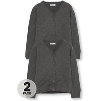 V by Very Girls 2 Pack Knitted School Cardigans, Charcoal, Size Age: 6-7 Years, Women