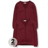 V by Very Girls 2 Pack Knitted School Cardigans, Burgundy, Size Age: 9-10 Years, Women