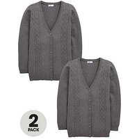V by Very Girls 2 Pack Longline Cable Knit School Cardigans, Grey, Size Age: 10-11 Years, Women