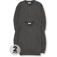 V by Very Schoolwear Boys V Neck School Jumpers - Charcoal (2 Pack), Charcoal, Size Age: 5-6 Years