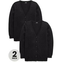 V by Very Girls 2 Pack Longline Cable Knit School Cardigans, Black, Size Age: 14-15 Years, Women