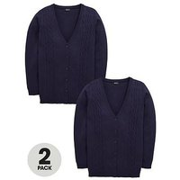V by Very Schoolwear Girls Cable Knit Longline School Cardigans - Navy (2 Pack), Navy, Size Age: 14-15 Years, Women