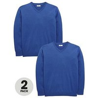 Boys, V by Very 2 Pack V Neck Knitted School Jumpers, Royal, Size Age: 3-4 Years