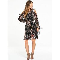 V By Very Petite Petite Cold Shoulder Frill Woven Floral Dress