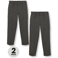 V by Very Boys 2 Pack Classic Woven School Trousers, Grey, Size Age: 12-13 Years