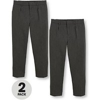 V by Very Schoolwear Boys 2 Pack Classic Woven Plus Fit School Trousers - Grey, Grey, Size Age: 6-7 Years