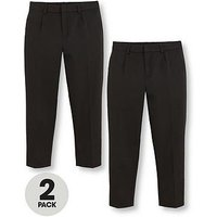 V by Very Boys 2 Pack Classic Woven Plus Fit School Trousers - Black, Black, Size Age: 13-14 Years