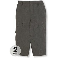 V by Very Schoolwear Boys Pk2 Teflon Shorts, Grey, Size Age: 9-10 Years