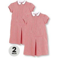 V by Very Schoolwear Girls Rib Collar Gingham School Dresses - Red (2 Pack), Red, Size Age: 10-11 Years, Women