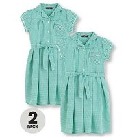 V by Very Schoolwear Girls Traditional Gingham School Dresses - Green (2 Pack), Green, Size Age: 6-7 Years, Women
