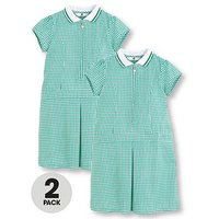 V by Very Schoolwear Girls Rib Collar Gingham School Dresses - Green (2 Pack), Green, Size Age: 10-11 Years, Women