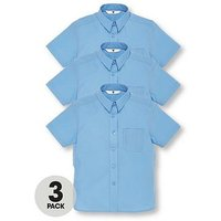 V by Very Schoolwear Girls Short Sleeve School Blouses - Blue (3 Pack), Blue, Size Age: 12-13 Years, Women