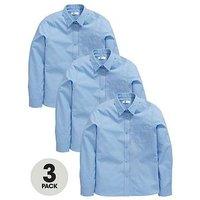 V by Very Schoolwear Girls Long Sleeve School Blouses - Blue (3 Pack), Blue, Size Age: 3-4 Years, Women