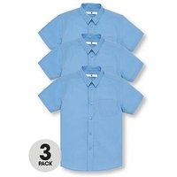 V by Very Boys 3 Pack Short Sleeved School Shirts, Blue, Size Age: 3-4 Years