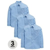 V by Very Boys 3 Pack Long Sleeved School Shirts, Blue, Size Age: 6-7 Years
