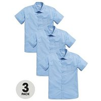 V by Very Boys 3 Pack Slim Fit Short Sleeved School Shirts, Blue, Size Age: 7-8 Years