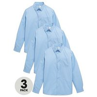 V by Very Boys 3 Pack Slim Fit Long Sleeve School Shirts, Blue, Size Age: 9-10 Years
