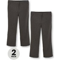V by Very Girls 2 Pack Woven School Trousers PLUS FIT, Grey, Size Age: 15-16 Years, Women
