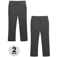 V by Very Girls 2 Pack Woven School Trousers - Grey, Grey, Size Age: 5-6 Years, Women
