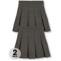 V by Very Girls 2 Pack Classic Pleated Woven School Skirt PLUS FIT, Grey, Size Age: 7-8 Years, Women