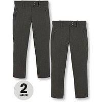 V by Very Girls 2 Pack Skinny School Trousers, Grey, Size Age: 13-14 Years, Women