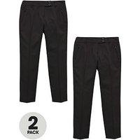 V by Very Schoolwear Girls Pk2 Skinny Trousers Plus Fit, Black, Size Age: 7-8 Years, Women
