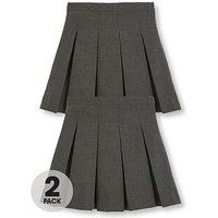 V by Very Schoolwear Girls Classic Pleated School Skirts - Grey (2 Pack), Grey, Size Age: 10-11 Years, Women