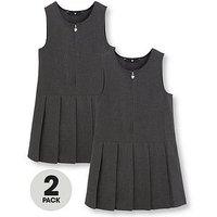 V by Very Schoolwear Girls Pleated Pinafore School Dresses - Grey (2 Pack), Grey, Size Age: 14-15 Years, Women