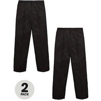 V by Very Boys 2 Pack Pull on School Trousers, Black, Size Age: 6-7 Years
