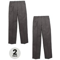 V by Very Schoolwear Boys Pull-On School Trousers - Grey (2 Pack), Grey, Size Age: 13-14 Years