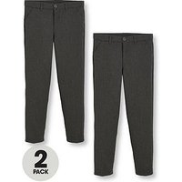 V by Very Schoolwear Boys 2Pk Slim Fit Trousers, Grey, Size Age: 7-8 Years