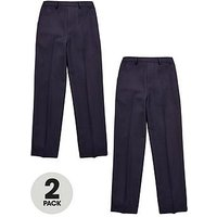 V by Very Schoolwear Boys 2 Pack Zip Front Trousers - Navy, Navy, Size Age: 11-12 Years