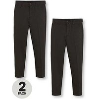 V by Very Boys 2 Pack Slim School Trousers, Black, Size Age: 11-12 Years