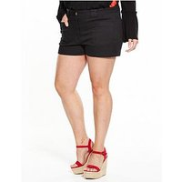 V by Very Curve CURVE Perfect Fit Shorts - Black, Black, Size 26, Women