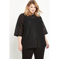 Alice & You Diamond Mesh T-shirt - Black, Black, Size 18, Women