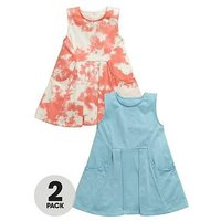 Mini V by Very Girls 2pk Plain & Tie Dye Summer Dress, Multi, Size 9-12 Months, Women