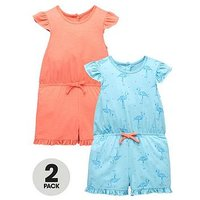 Mini V by Very Girls 2pk Frill Shoulder Flamingo Playsuits, Multi, Size 3-4 Years, Women