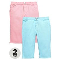 Mini V by Very Frayed Edge Coloured Cropped Jeans (2 Pack), Multi, Size Age: 3-4 Years, Women